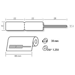 Etiqueta blanca tira transparente